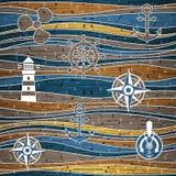 Nautisk garnering - våggarnering - sömlös bakgrund royaltyfri illustrationer