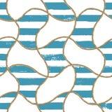 Nautisk illustration för sömlöst modellhav Textur för mode för vattenfärghand utdragen med rep royaltyfri foto