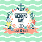 Nautisk inbjudan för bröllopdag Stock Illustrationer