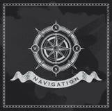 Nautisk kompass för tappning Design för vektor för svart tavlavind rosa Royaltyfri Foto