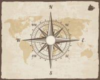 Nautisk kompass för tappning Gammal världskarta på vektorpapperstextur med den sönderrivna gränsramen rose wind Bakgrundsskepplog Arkivfoto