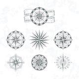 Nautisk kompass Marin- vind steg för översikter Illustrationer för tappningstilvektor vektor illustrationer