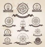 Nautisk marin- etikettuppsättning för tappning royaltyfri illustrationer