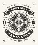 Nautisk navigatör Typography One Color för tappning Royaltyfri Foto