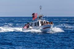 Nautisk procession av Virgenen del Spårvagnsförare (helgonet av sjömän) Royaltyfri Foto