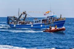 Nautisk procession av Virgenen del Spårvagnsförare (helgonet av sjömän) Royaltyfri Bild