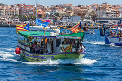 Nautisk procession av Virgenen del Spårvagnsförare (helgonet av sjömän) Fotografering för Bildbyråer