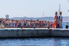 Nautisk procession av Virgenen del Spårvagnsförare (helgonet av sjömän) Arkivfoto
