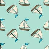 Nautisk sömlös vektormodell med skeppet tecknad filmillustration för design för kort för hälsning för barn` s, tyg och royaltyfri illustrationer