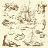 nautisk set stock illustrationer