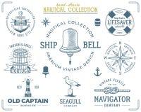 Nautisk stämpeluppsättning för tappning Retro stil för gammalt skepp Segla etiketter, emblemillustration Nautiska grafiska symbol royaltyfri illustrationer
