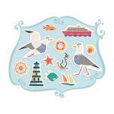 Nautisk symbolsuppsättning royaltyfri illustrationer