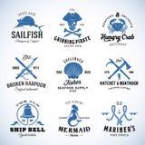 Nautisk uppsättning av vektortappning och Marine Labels royaltyfri illustrationer