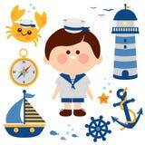Nautisk uppsättning för sjömanpojke vektor illustrationer