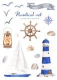Nautisk uppsättning för vattenfärg på en vit bakgrund royaltyfri illustrationer