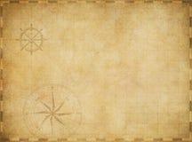 Nautisk översikt för gammal tom tappning på slitet pergament Arkivfoto