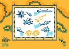 nautiska designelement Stock Illustrationer