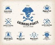 Nautiska etiketter för tappning eller designbeståndsdelar med royaltyfri illustrationer