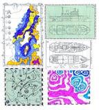 Nautiska grafer och kartlägger Royaltyfria Bilder