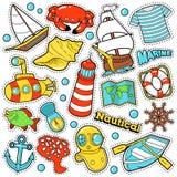 Nautiska Marine Life Stickers, emblem, lappar Royaltyfri Bild