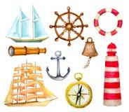 nautiska set symboler dragen vektor för vattenfärg hand Royaltyfri Bild