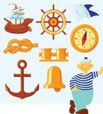 nautiska symboler royaltyfri illustrationer