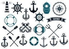 Nautiska themed designbeståndsdelar Arkivfoton