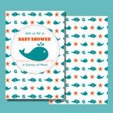 Nautiskt baby showerkort Fotografering för Bildbyråer