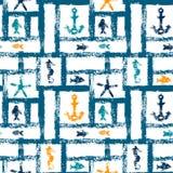 Nautiskt blått apelsin- och vitgrungegaller med ankaret, stjärnan och fiskar, sömlös modell, vektor Fotografering för Bildbyråer
