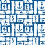 Nautiskt blått- och vitgrungegaller med ankaret, stjärnan och fiskar, sömlös modell, vektor stock illustrationer