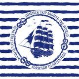 Nautiskt emblem med seglingskeppet royaltyfri illustrationer