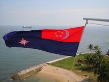 Nautiskt flagga- och tankfartygskepp Arkivbild