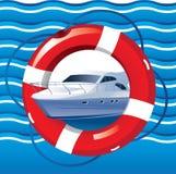 Nautiskt kort med yachten, räddningslina och vågor vektor illustrationer