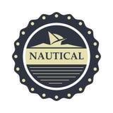 Nautiskt mall för sjömanlogodesign Arkivfoton