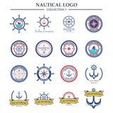 Nautiskt mall för sjömanlogodesign Arkivbild