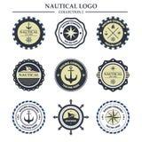 Nautiskt mall för sjömanlogodesign Royaltyfri Bild