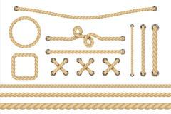 nautiskt rep Runda och kvadrera repramar, kabelgränser Beståndsdelar för seglingvektorgarnering royaltyfri illustrationer