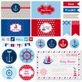 Nautiskt tema för baby shower royaltyfri illustrationer