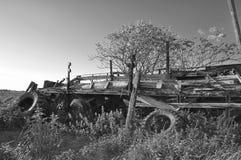Nautre noir et blanc de l'Allemagne de remorque de rétro de whell vintage de pneu photo stock