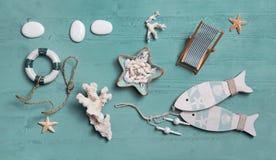 Nautyczna lub morska dekoracja dla wakacje: skorupy, fis Obrazy Royalty Free