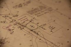 Nautyczna mapa Nawigaci mapa zakotwienie Obraz Stock