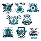 Nautyczne heraldyczne wektorowe ikony morski żeglarz ilustracji
