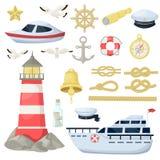 Nautyczne marynarek wojennych łodzie, kotwica, koło żołnierz piechoty morskiej i oceanu temat, projektują elementy ustawiających  Obraz Stock