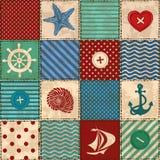 Nautycznego patchworku bezszwowy wzór Fotografia Royalty Free