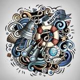 Nautycznej kreskówki doodle wektorowa ilustracja Fotografia Stock