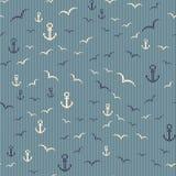 Nautyczny bezszwowy wzór z kotwicą i seagulls ilustracja wektor