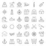 Nautyczny i żeglarz kreskowy ikony set ilustracja wektor