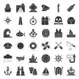 Nautyczny i żeglarzie odnosić sie ikona set, bryła styl ilustracji