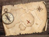 Nautyczny kompas na stole z starą skarb mapy 3d ilustracją royalty ilustracja