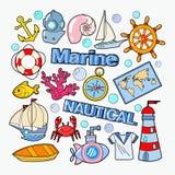 Nautyczny Morski Doodle z ryba, łodzią i łodzią podwodną, Morze wakacje ilustracja wektor